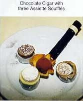 Chocolate cigar with three Asiette Souffles